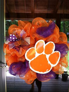 Clemson Mesh Wreath by MeshedUpCreations on Etsy, $55.00
