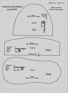 LDS Mom to Many: Free Fleece Slipper Pattern - Adjust Size with a Copy Machine Baby Sewing Projects, Sewing For Kids, Sewing Hacks, Sewing Slippers, Kids Slippers, Baby Shoes Pattern, Shoe Pattern, Fleece Socks, Baby Shoe Sizes