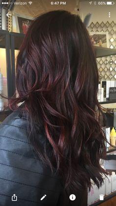 Hair, Hair color, Red balayage hair, Dark auburn h Dark Ombre Hair, Hair Color Dark, Color Red, Dark Red Balayage, Auburn Balayage, Red Balayage Highlights, Dark Red Ombre, Burgundy Hair Ombre, Maroon Hair