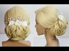Bridal updo. Wedding prom hairstyle for long medium hair tutorial. - YouTube