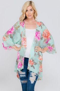 sleeve floral print kimono cardigan in mint. Chiffon Kimono, Floral Kimono, Floral Chiffon, Kimono Cardigan, Kimono Dress, Kimono Top, Women's Clothes, Clothes For Women, Floral Prints