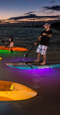 Add a light to a board or boat for night paddling! #NocQua