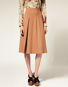 Midi Skirt With Pleat Waistband.  Love the 1940s styling (hate the shoes, though)