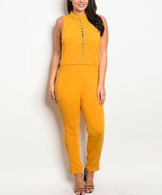 Take a look at this Mustard Lace-Up Mock Neck Jumpsuit - Plus today!