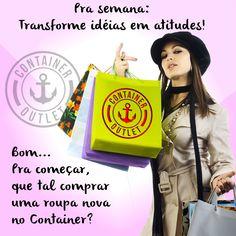 Que tal começar a semana tomando uma atitude que vai melhorar seu astral, sem pesar no seu bolso? Compre uma roupa nova, pagando até 70% menos que em lojas convencionais. Container Outlet Teó. Venha conferir na Av. Visc. do Rio Branco, 821 - Centro - T. Otoni (Estacionamento próprio). #VemProContainer #ContainerOutlet #ChiqueéPagarPouco #ContainerTeó #Fashion #Moda #PreçoBaixo #Outlet