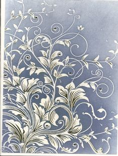 white embossing powder - color background - touches of green and rhinestones on leaves