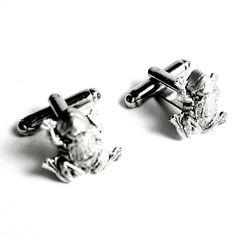 Men's Silver Frog Cufflinks, New Handcrafted Amphibian Cuff Links- Wedding, Prom #Handmade