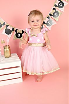 Pink and Gold birthday dress MINNIE MOUSE by loverdoversclothing