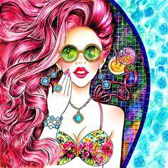 Sunny-Gu Summery-Gems Palm-Tree-Dreams - Fashion Illustrations by Sunny Gu  <3 <3