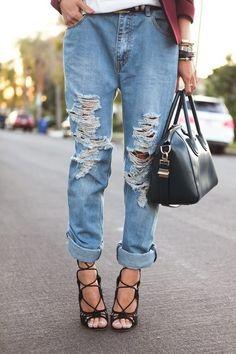 I LOVE this look! Strappy stilettos and rolled, destroyed boyfriend jeans. Jeans Boyfriend, Lace Up Sandals, Lace Up Heels, Strappy Shoes, Lace Shoes, Hot Heels, Sexy Heels, Sport Chic, Moda Fashion