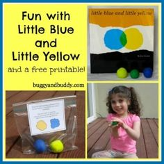 such a cute idea to bring the story Little Blue, Little Yellow to life for kids & add in some color mixing fun
