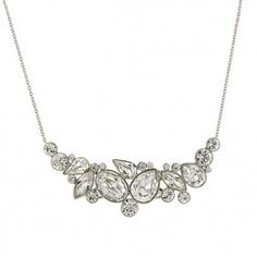 Silver-Tone Genuine Swarovski Crystal Statement Necklace