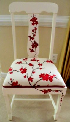 Chair Design from Top to Bottom. Love how the fabric design continues with painting on the chair.