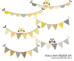 Grey and Yellow Party Bunting with owls  by TracyAnnDigitalArt