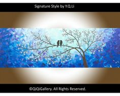 """""""Moonlight Sonata"""" by QIQIGallery 36""""x12"""" Original Painting, $185.00"""