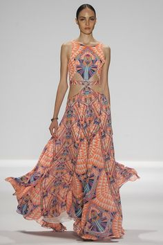 New York Fashion Week, SS '14, Mara Hoffman. This is beautiful! Not a fan of all the cut outs in the torso personally but I love the style and pattern
