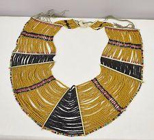 Beaded Necklace Collar Womans Naga Konyak Tribe Black Rust Brown Beaded Collar