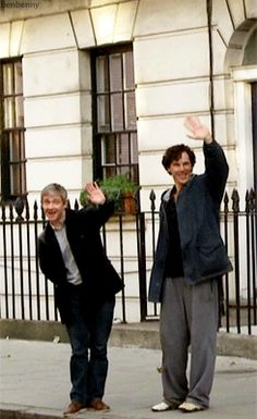 A wave from Martin Freeman and Benedict Cumberbatch.