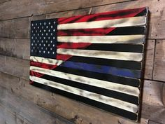 Split American & Thin Blue Line Burnt Wood American Flag - Military Veteran Made in USA - Wall Hanging Art Decor -Patriotic Handmade Gift Back The Blue Flag, Thin Blue Line Flag, Thin Blue Lines, Pallet Flag, Wood Flag, Patriotic Crafts, July Crafts, Patriotic Party, Flag Decor