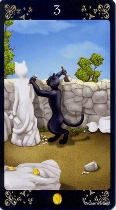 Trois de Deniers - tarot des chats noirs - Rozamira Tarot