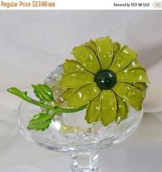 This #vintage large green flower brooch is just so gorgeous!  It features a large hand painted flower blossom in olive green with a dark green center and a bright green stem... #ecochic #etsy #jewelry #jewellery