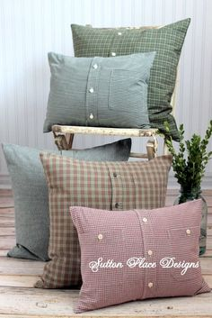 Repurposed green Winter Decorative Pillow Cover from cozy plaid shirt 18 x 18. $18.00, via Etsy.