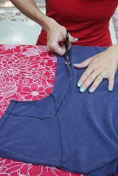 Tee Shirt Surgery: How to Make a Shirt Fit * was für ein unterschied, sie sieht viel schlanker aus mit dem engeren shirt