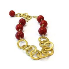 Red Bracelet Gold Jewelry Turquoise Natural by jewelrybycarmal, $35.00