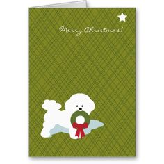 bichon frise christmas notecard - Frise Vinyle