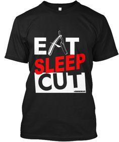 Eat Sleep Cut Barber T Shirt Black T-Shirt Front