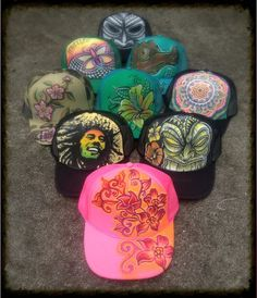 Hand Painted Trucker Art Hats by Marcelo Souza by reMusedClothing