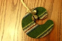 Initial ornaments made from wool sweaters - so cute!
