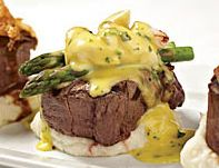 Filet Mignon w/Asparagus and Bernaise Sauce (lump crab on top great too)
