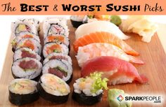 How to pick the healthiest (and lowest calorie) sushi rolls | via @SparkPeople #food #diet #nutrition #fish #Japanese #seafood