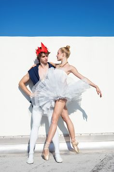 Miami City Ballet Schol students Carlos Valdés and Ella Titus (photo by Henry Leutwyler Studio for Teen Vogue)