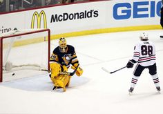 1.21.15 Hawks vs Pens - Kaner scores on Fleury during the shootout - Photo by Gregory ShamusNHLI via Getty Images