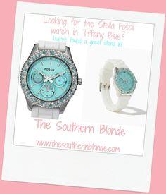 Tiffany Blue Stella Fossil Watch Replica | The Southern Blonde