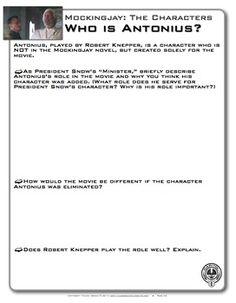 Who is Antonius? Mockingjay Parts 1 and 2 Movie Comparison with the Novel  - via TeachersPayTeachers.com