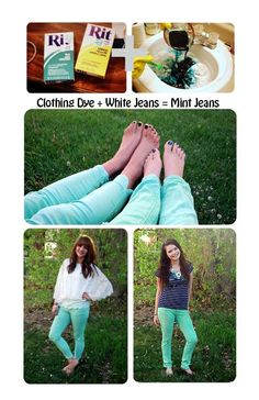 DIY mint jeans style. Think I will try this on my old white jeans.
