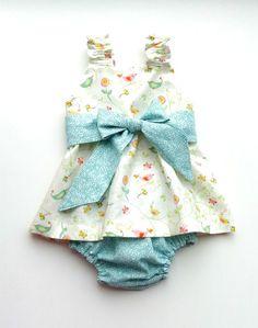Baby/Girl Dress & Diaper Cover Set Spring Birds by OmasFlohmarkt, $25.00