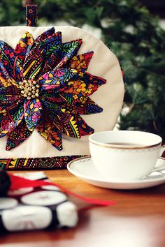 poinsettia tea cozy tutorial made with mackintosh print from stile line by @Liberty Lifestyle