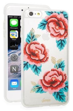 Gilded accents highlight the vibrant blooms for a touch of glamour on this slim phone case.