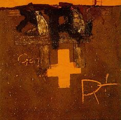 Tapies' palette never varied: he used red, black, white, brown, and gold