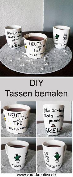 Tassen bemalen, Tassen pimpen, DIY Geschenke, DIY Porzellan, Vara-Kreativa, DIY Wohnen