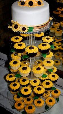wedding cakes sunflower Delanas Cakes: Sunflower Cake and Cupcakes Delanas Cakes: S. Sunflower Wedding Cupcakes, Sunflower Birthday Parties, Sunflower Party, Sunflower Baby Showers, Wedding Cakes With Cupcakes, Cupcake Cakes, Sunflower Weddings, Wedding Cookies, Fall Wedding