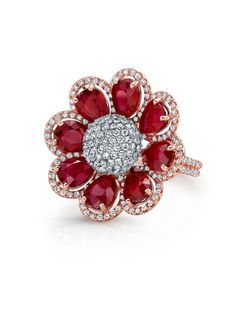 Norman Silverman 18k Pear Shape Ruby and Diamond Flower Ring at London Jewelers! (Worn in the 2012 Victoria's Secret Fashion Show!)