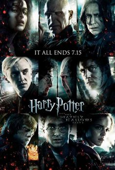 "27x40 Inch Harry Potter and the Deathly Hallows movie poster features Bellatrix Lestrange, Lord Voldemort, Severus Snape, Draco Malfoy, Harry Potter, Neville Longbottom. Ron Weasley, and Hermione Granger with the caption ""IT ALL ENDS 7.15″. Get it now at http://harrypottermovieposters.com/product/harry-potter-and-the-deathly-hallows-part-ii-movie-poster-style-h-27x40-inch/"