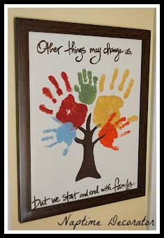 Handprint Tree - such a cute idea to frame and hang on the wall #crafts #family