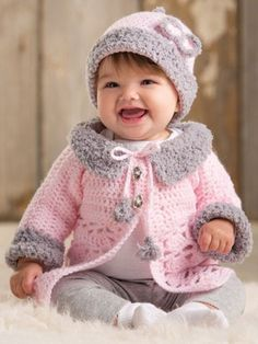 Modern Baby Sweater Set This crochet pattern is available to download Download Pattern: Modern Baby Sweater Set