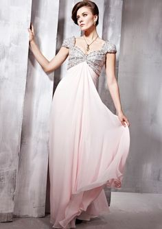 Elaborately V-neck Floor-length Beading Dress